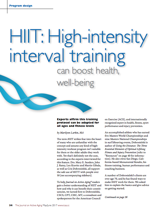 HIIT: High-intensity interval training can boost health, well-being by Marilynn Larkin, MA-5827