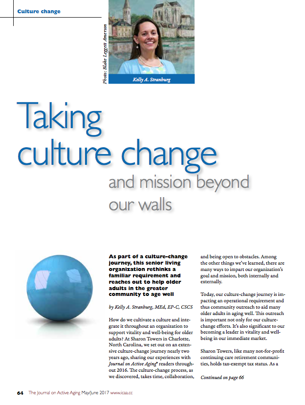 Taking culture change and mission beyond our walls by Kelly A. Stranburg, MEd, EP-C, CSCS-5841