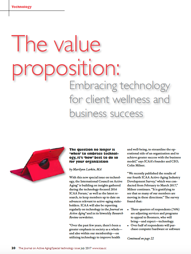 The value proposition: Embracing technology for client wellness and business success by Marilynn Larkin, MA-5870