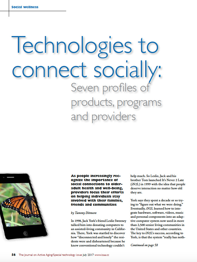 Technologies to connect socially: Seven profiles of products, programs and providers by Tammy Ditmore-5884