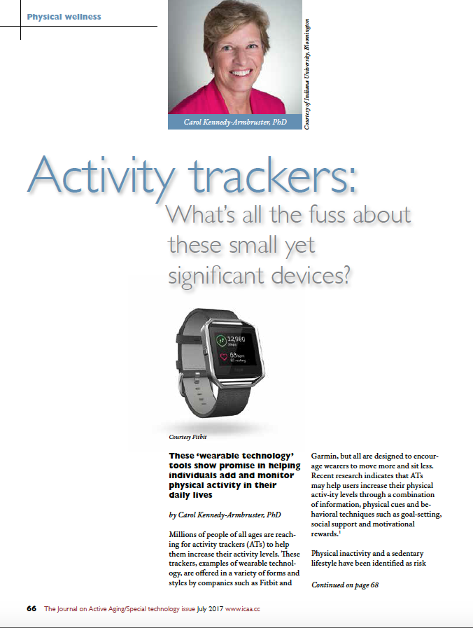 Activity trackers: What's all the fuss about these small yet significant devices? by Carol Kennedy-Armbruster, PhD-5890