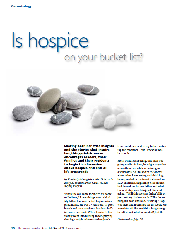 Is hospice on your bucket list? by Kimberly Baumgarten, RN, FCN, with Mary E. Sanders, PhD, CDE, ACSM-RCEP, FACSM-5966