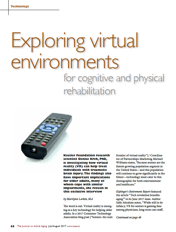 Exploring virtual environments for cognitive and physical rehabilitation by Marilynn Larkin, MA-5969