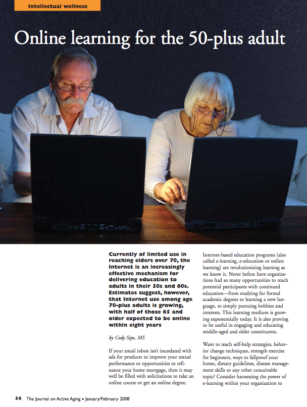 Online learning for the 50-plus adult by Cody Sipe, MS-597