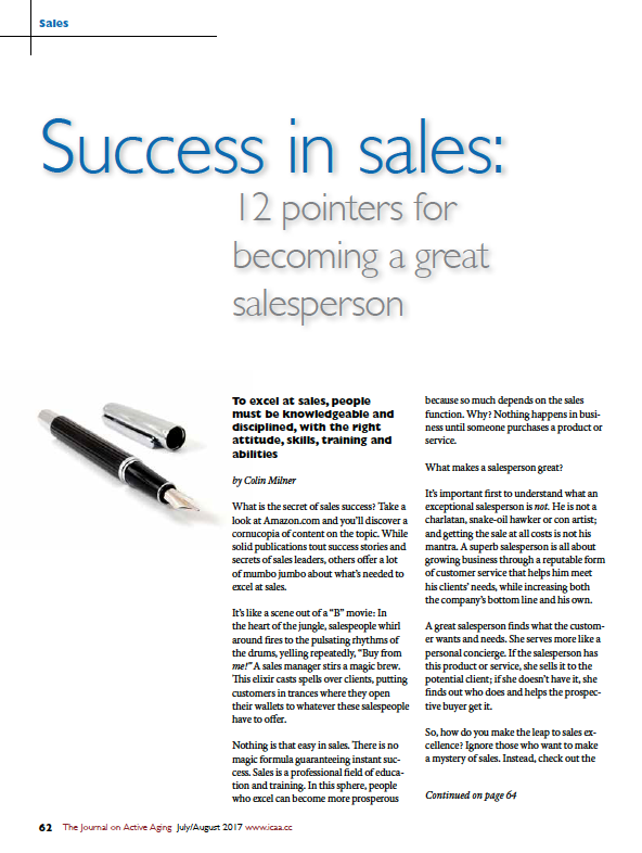 Success in sales: 12 pointers for becoming a great salesperson by Colin Milner-5976