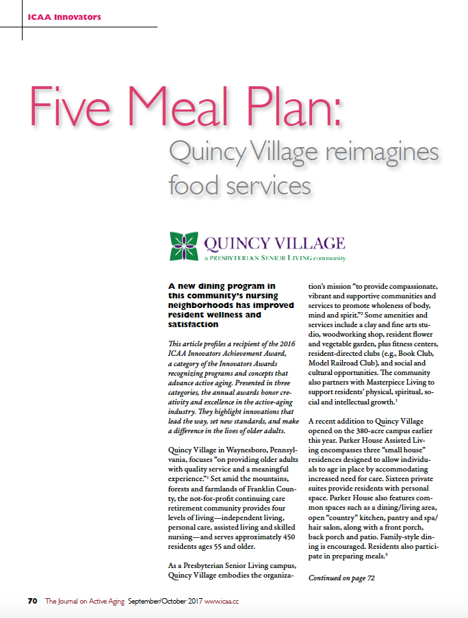 Five Meal Plan: Quincy Village reimagines food services-6003