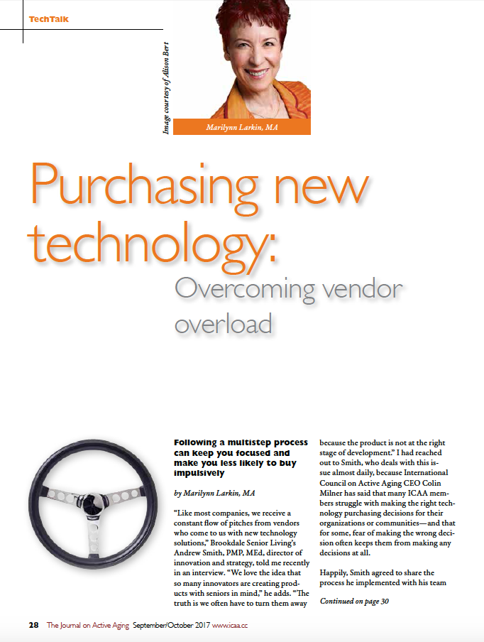 Purchasing new technology: Overcoming vendor overload by Marilynn Larkin, MA-6008