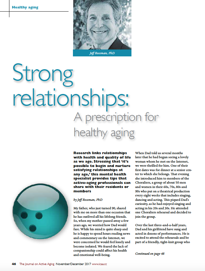 Strong relationships: A prescription for healthy aging by Jeff Rossman, PhD-6222