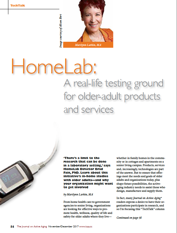 HomeLab: A real-life testing ground for older-adult products and services by Marilynn Larkin, MA-6225