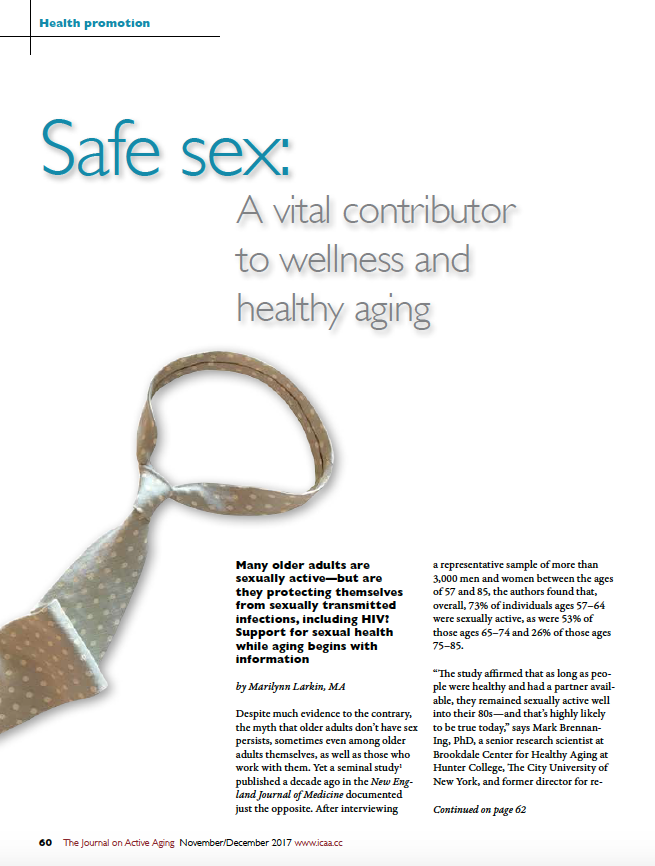 Safe sex: A vital contributor to wellness and healthy aging by Marilynn Larkin, MA-6227