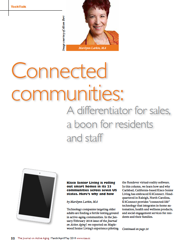 Connected communities: A differentiator for sales, a boon for residents and staff by Marilynn Larkin, MA-6393