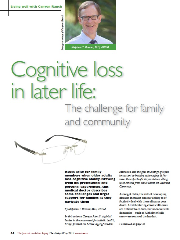 Cognitive loss in later life: The challenge for family and community by Stephen C. Brewer, MD, ABFM-6404