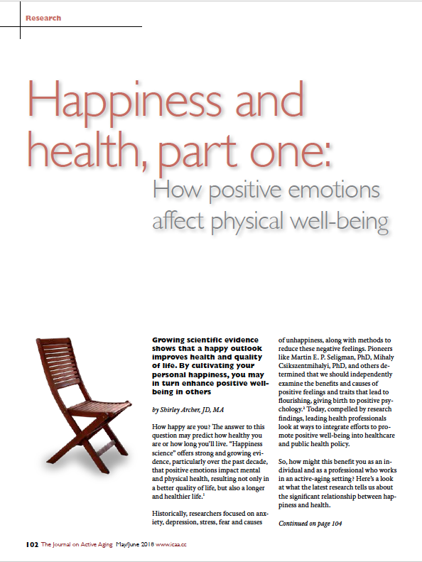 Happiness and health, part one: How positive emotions affect physical well-being by Shirley Archer, JD, MA-6502