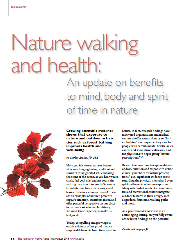 Nature walking and health: An update on benefits to mind, body and spirit of time in nature by Shirley Archer, JD, MA-6557