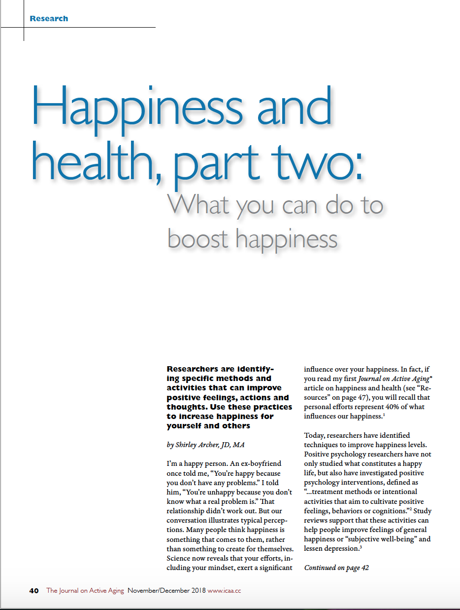 'Happiness and health, part two: What you can do to boost happiness by Shirley Archer, JD, MA-6886