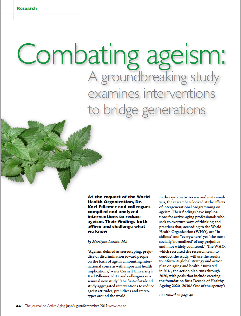 Combating ageism: A groundbreaking study examines interventions to bridge generations by Marilynn Larkin, MA-7435