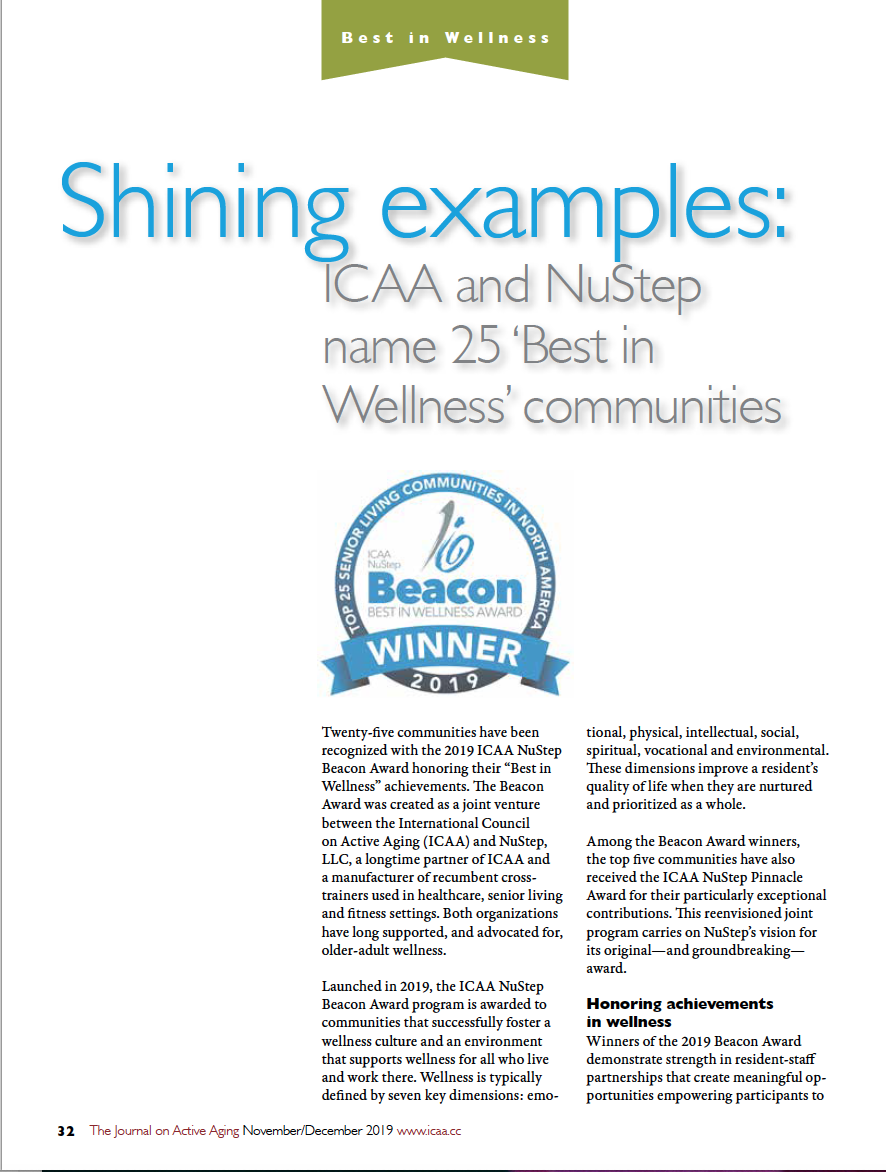Shining examples: ICAA and NuStep name 25