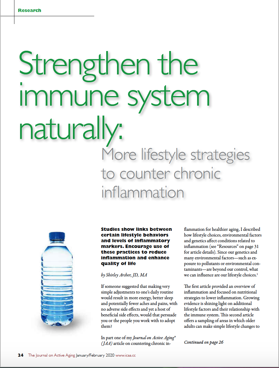 Strengthen the immune system naturally: More lifestyle strategies to counter chronic inflammation by Shirley Archer, JD, MA-7955