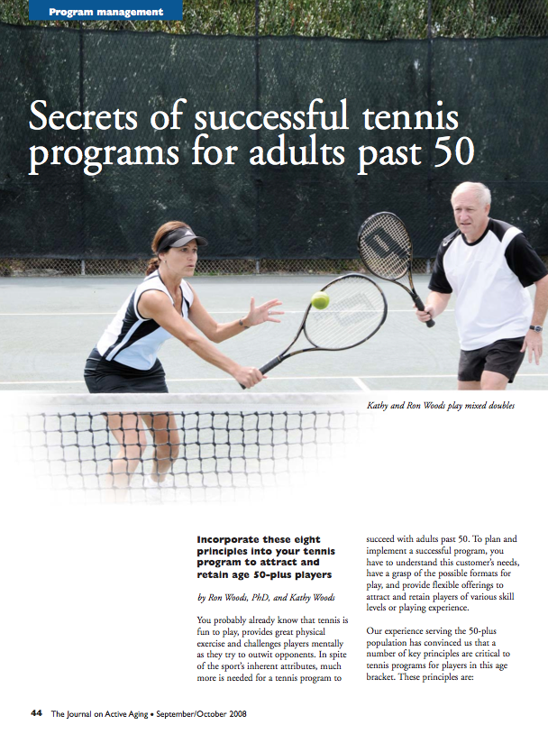Secrets of successful tennis programs for adults past 50 by Ron Woods, PhD, and Kathy Woods-962